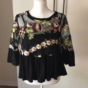 Anthro eri & Ali Sz s p sheer layered blouse shirt